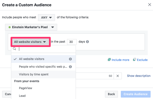 facebook business manager retargeting audience