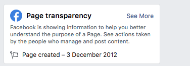 facebook page transparency