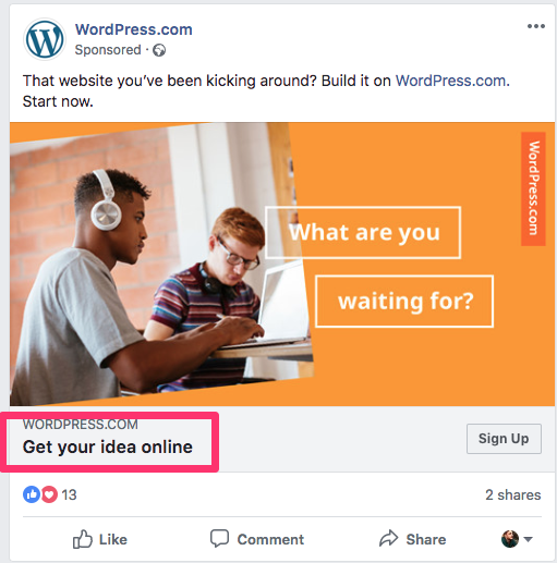 facebook ad split test headline