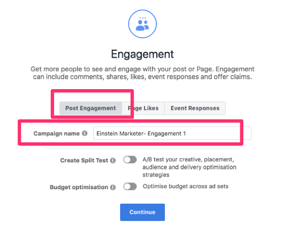facebook post engagement ad
