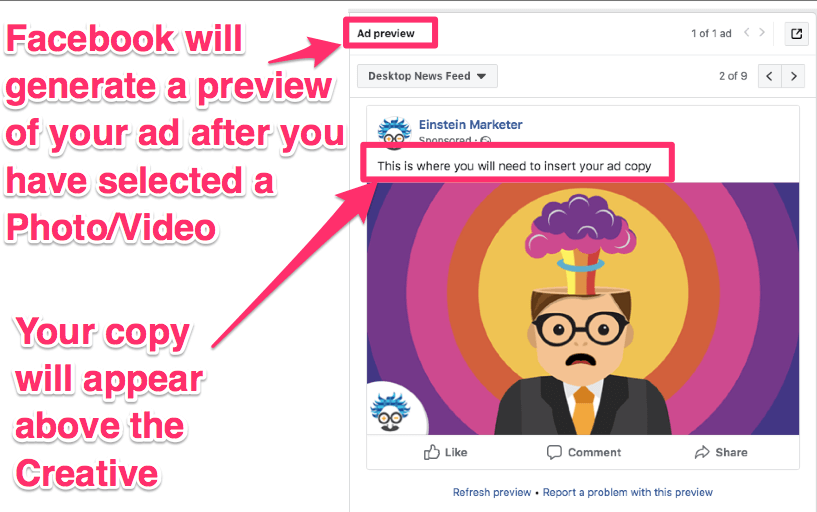 facebook ad local creative and copy