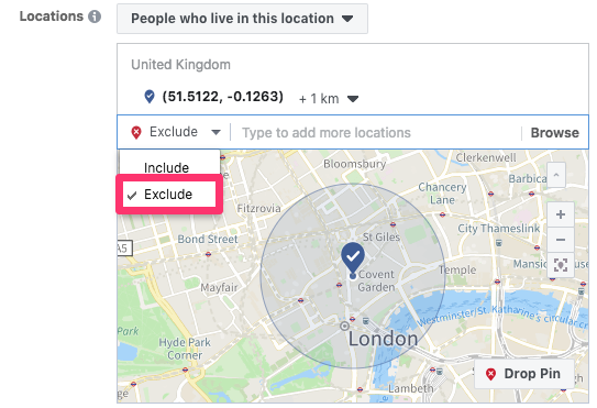 audience location targeting exclude