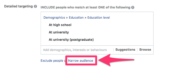 facebook audiences narrow demographic targeting