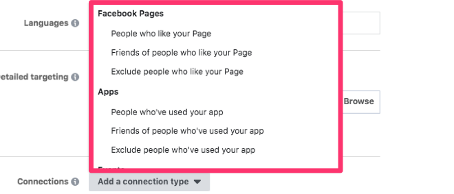 facebook page connections