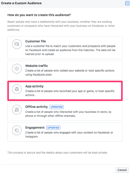 facebook custom audiences app activity