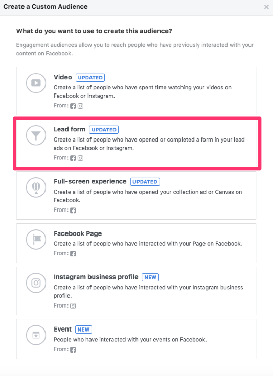 facebook custom audiences engagement