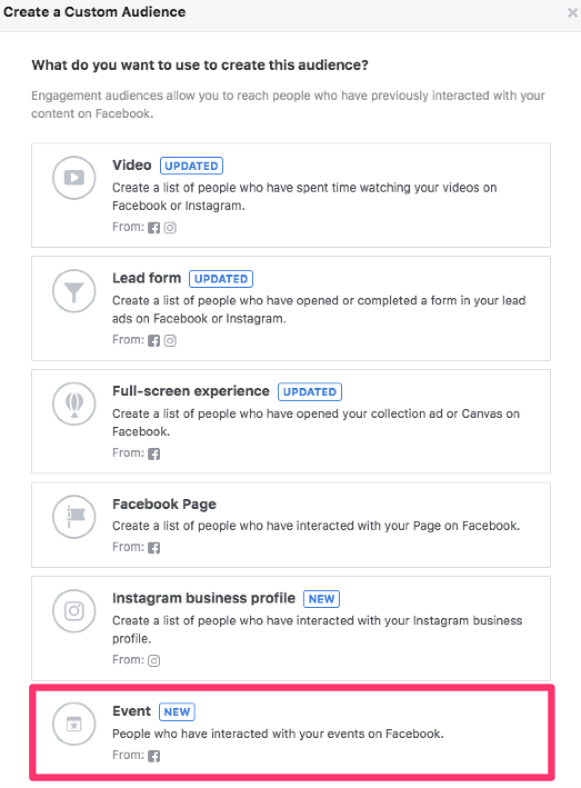 facebook custom audiences event