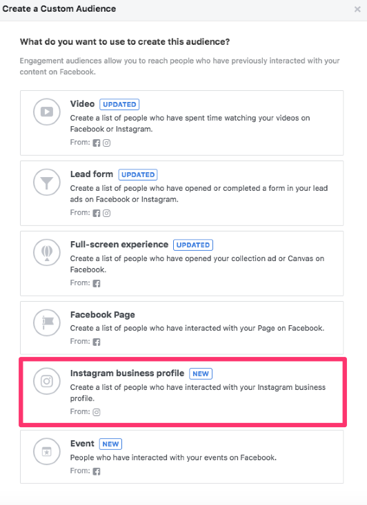 facebook custom audiences instagram business profile