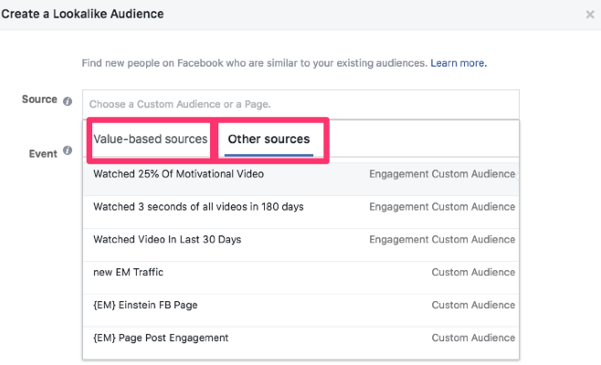 facebook lookalike audience source