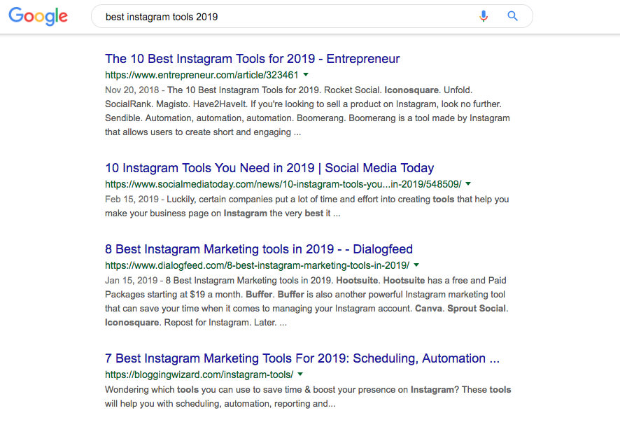 Instagram Tools google search