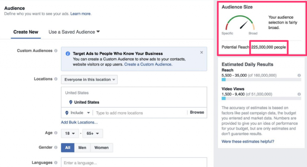 facebook audience size mistake