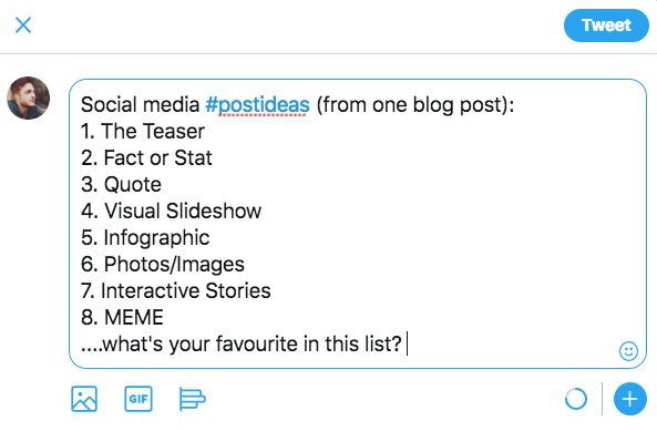 list post social media content ideas
