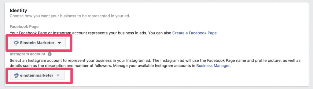 facebook ad select identity