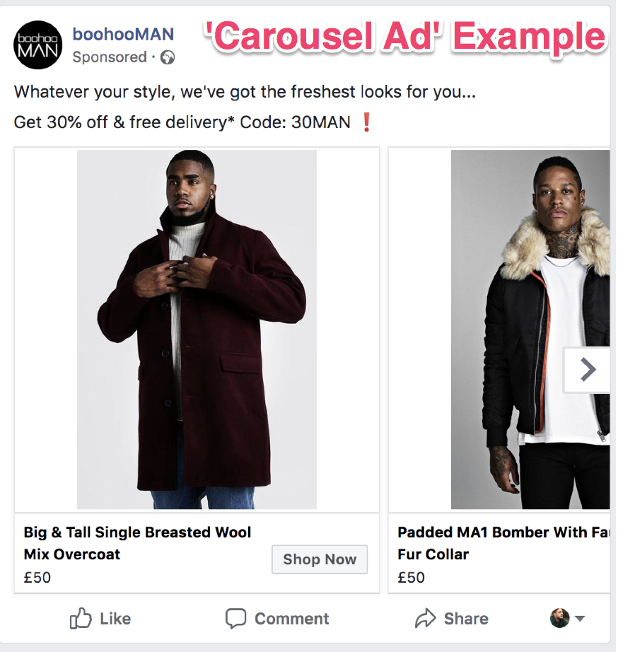 facebook ad creative carousel format