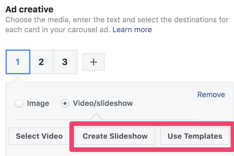 facebook ad creative create slideshow