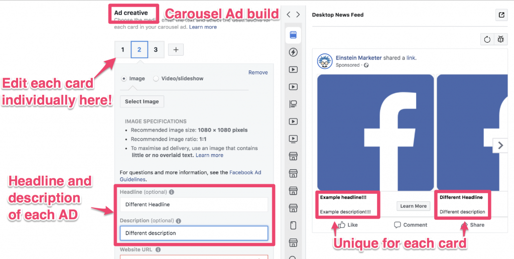 facebook ad text and links