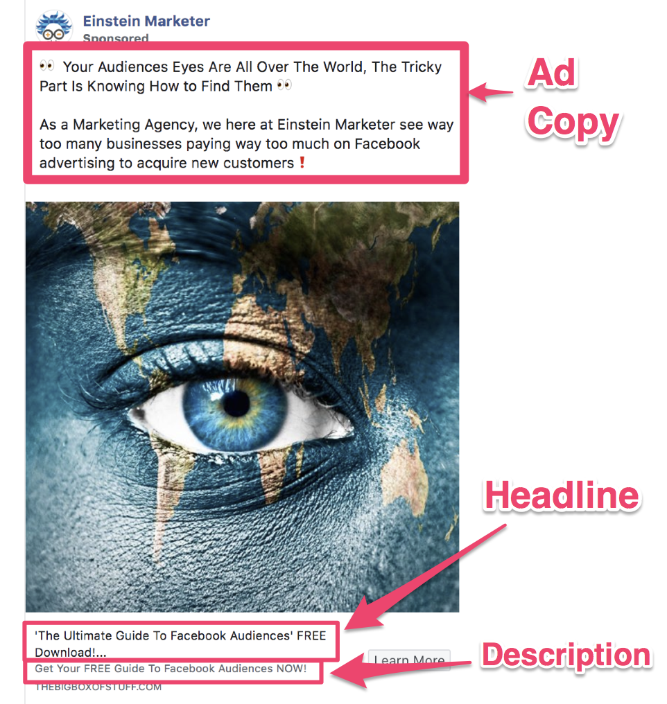 facebook ad copy format headline, description ad copy