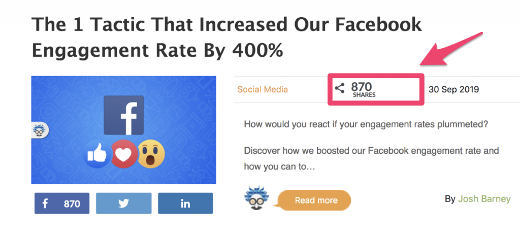 social proof social media share