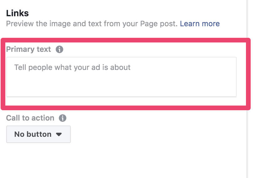 facebook ad copy primary text