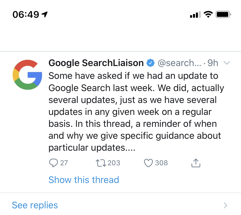 google update on twitter
