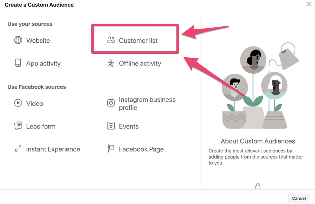facebook custom audience list