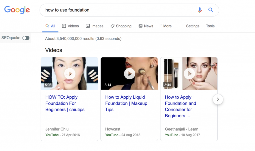 youtube video in google search results
