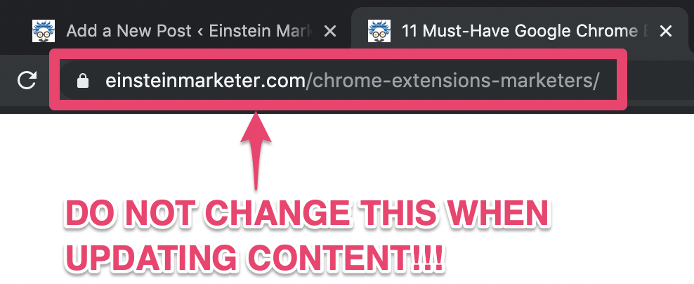 page url content update seo