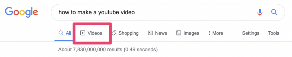 google videos tab results page