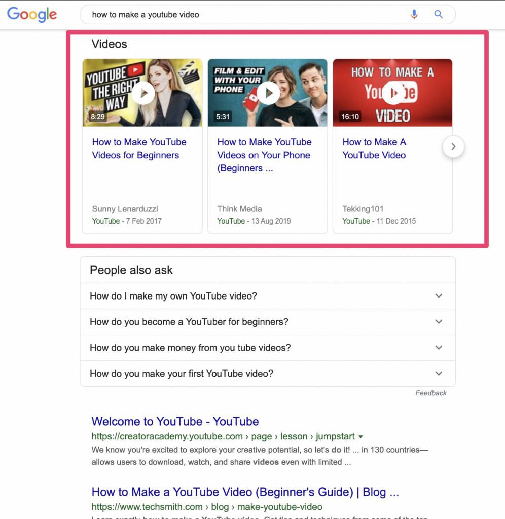 google video carousel results page