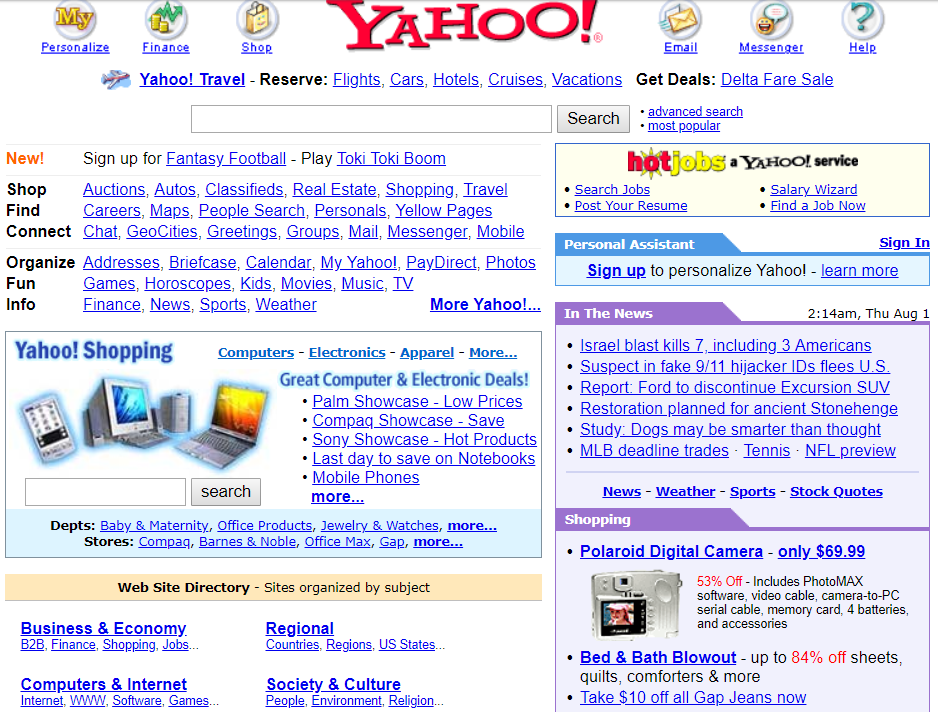 yahoo search homepage