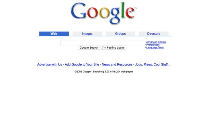 google homepage 2002