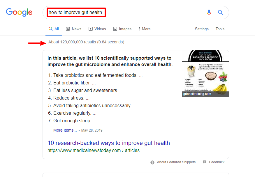 longtail keywords gut health google example