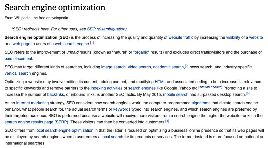 wikipedia flat html google seo