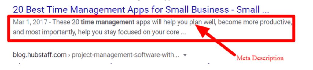 meta description google example