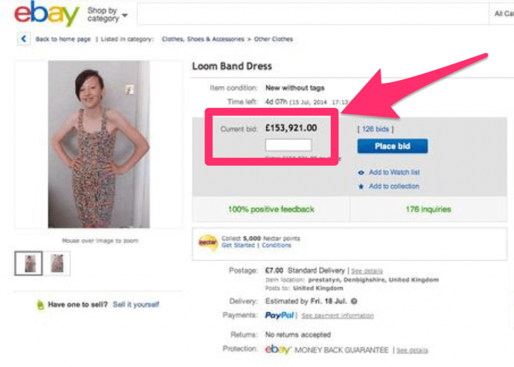 ebay overpriced item loss aversion theory