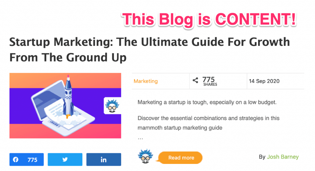 content marketing example blog