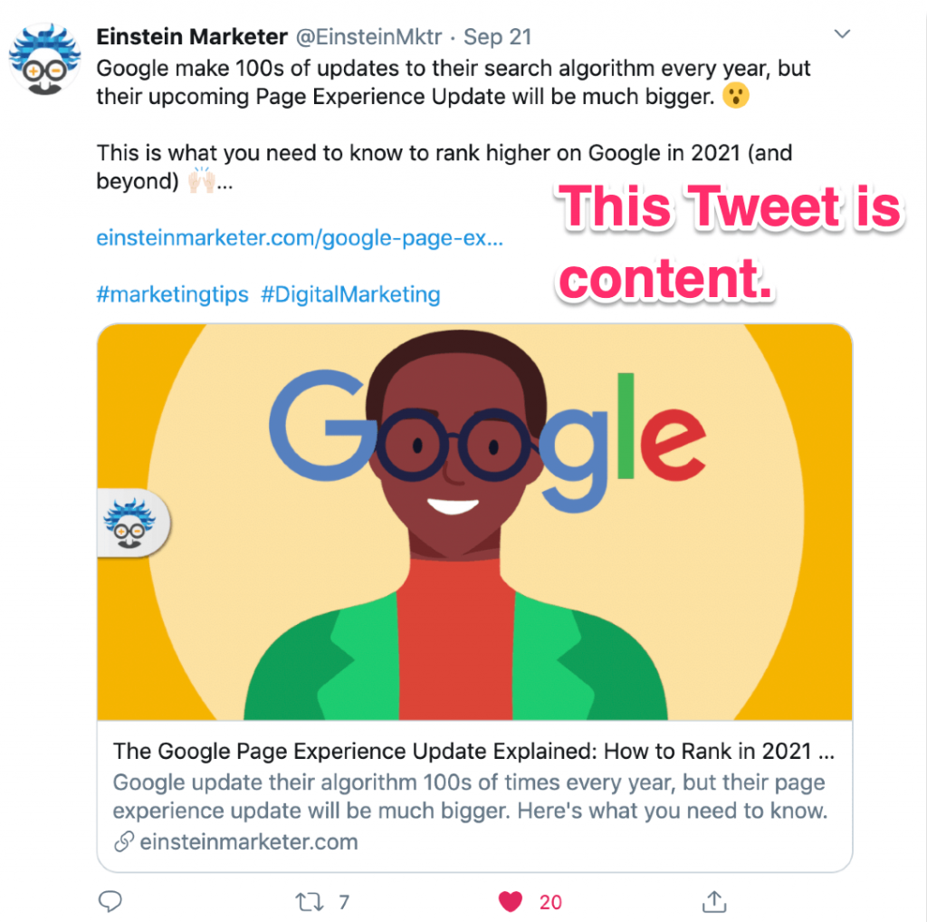 content marketing example tweet
