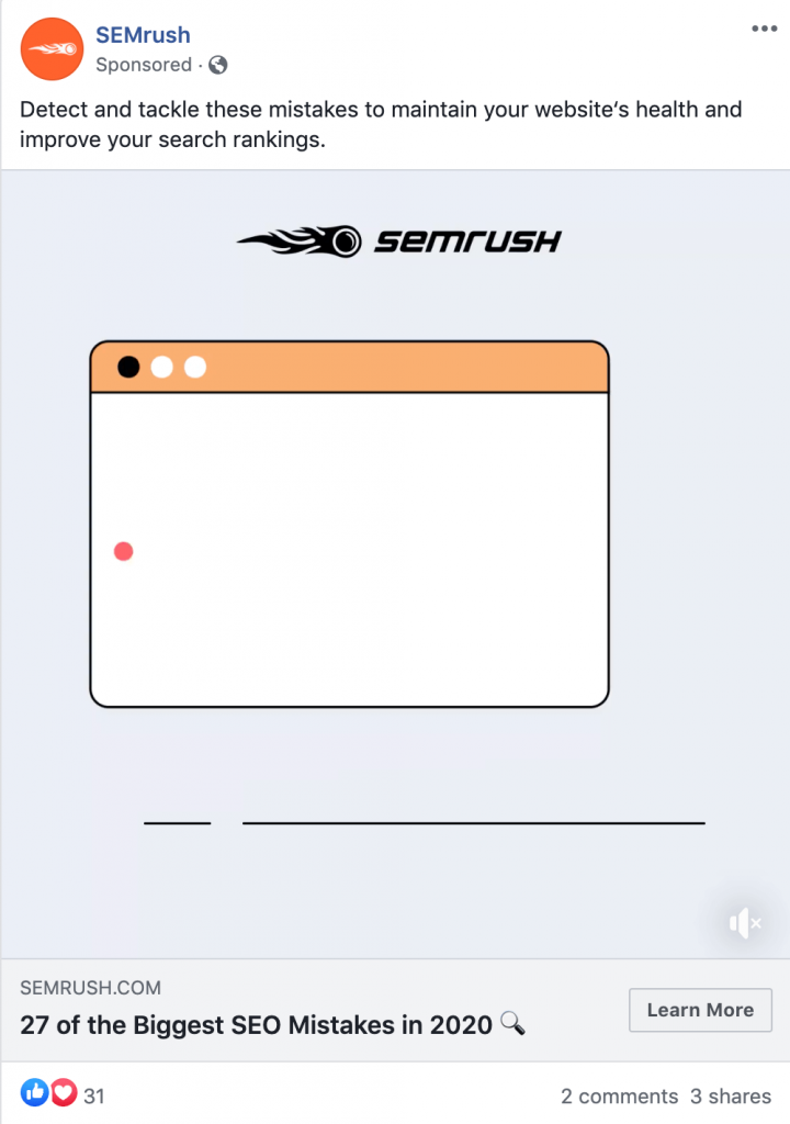 facebook ad example semrush
