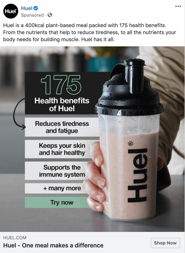 facebook ad example huel