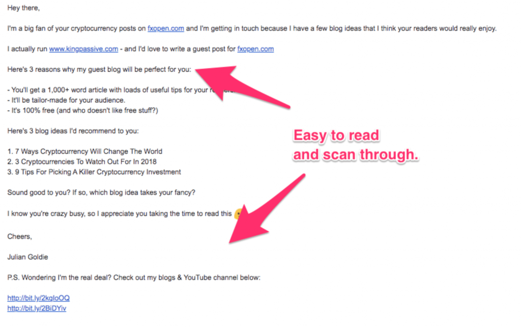 guest pitch email outreach example