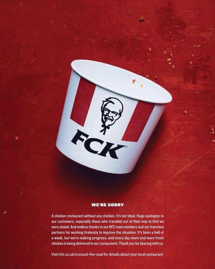 kfc fck poster pratfall effect marketing