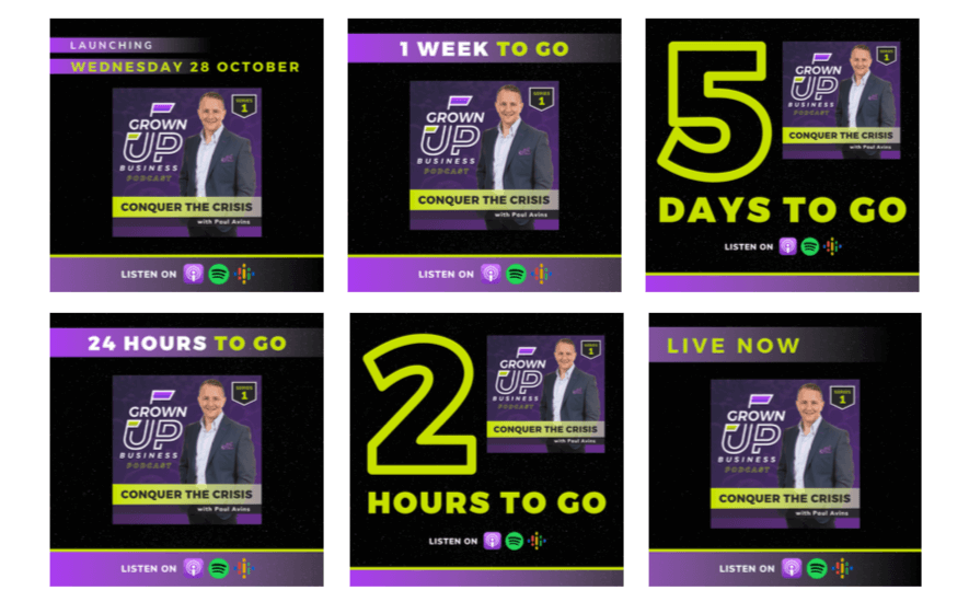podcast launch countdown graphics