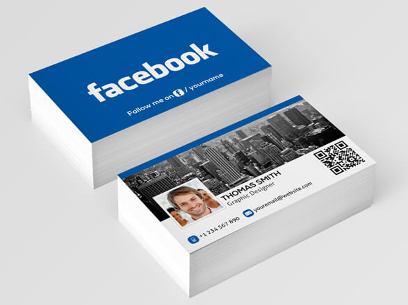 facebook page on business cards