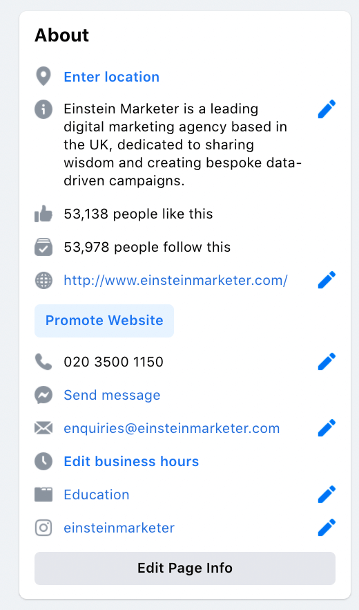 facebook business page profile about section