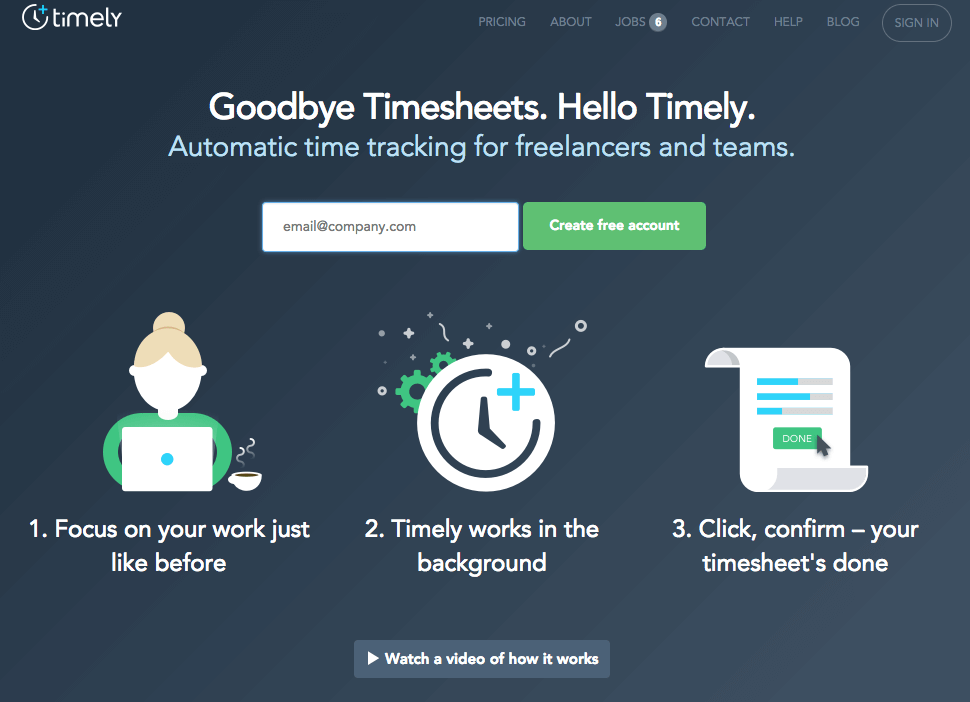 landing page how it works copy timely