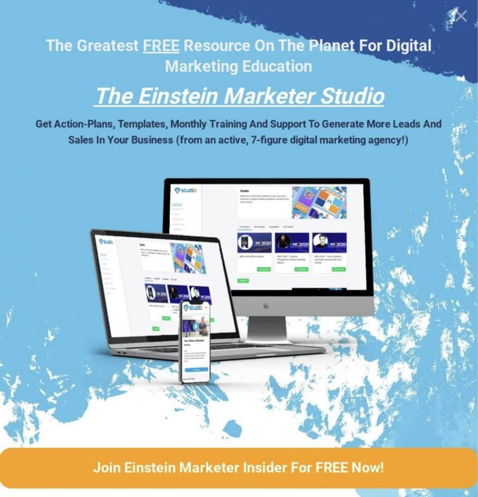 ad for einstein marketer studio