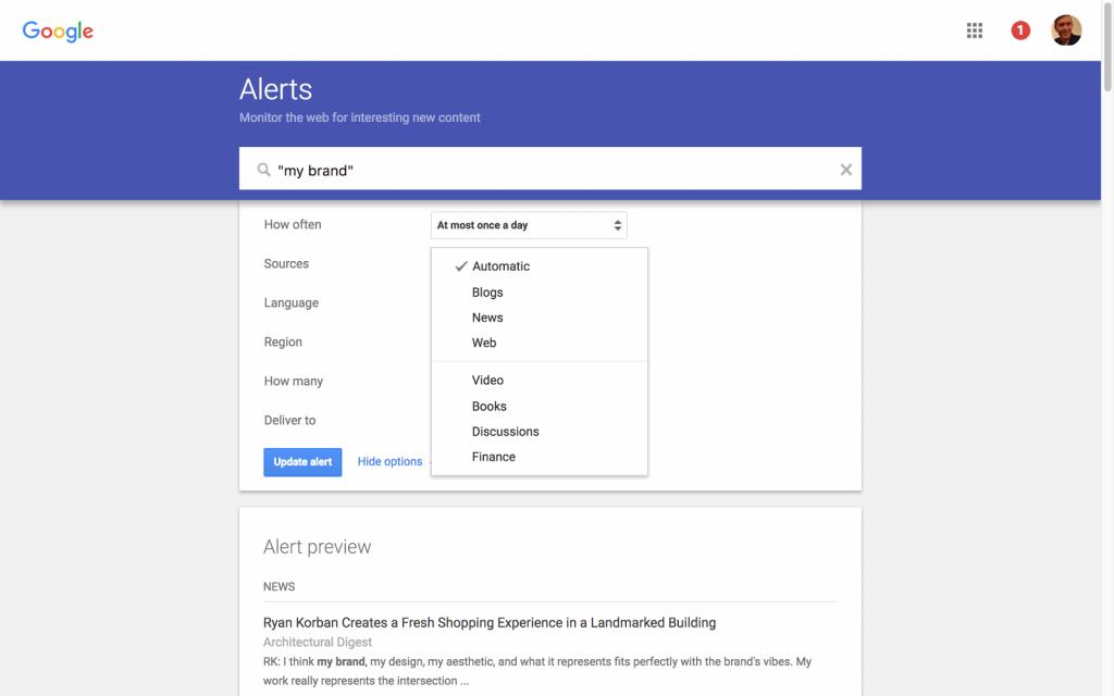 google alerts social listening online